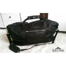 Дорожная (спортивная) сумка из кожи питона Leonardo (black)