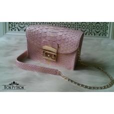 Сумка Carlie (pink with gold) из кожи питона