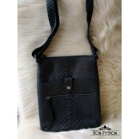 Мужская сумка из кожи питона Rolph (черная матовая)