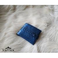 Портмоне из кожи питона на кнопке (metallic blue)