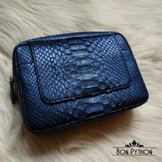 Мужской клатч из кожи питона Ethan (metallic blue)