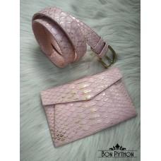 Набор из клатча и ремня из кожи питона (pink with gold)