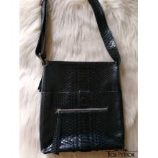 Мужская сумка из кожи питона Rolph (черная глянцевая)
