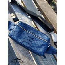 Мужская сумка бананка из кожи питона (blue dragon)