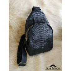 Мужской нагрудный рюкзак из кожи питона