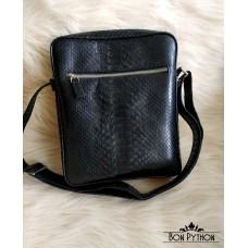 Мужская сумка из кожи питона Sanford (черная полу-глянцевая)