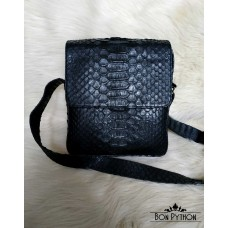 Мужская сумка  из кожи питона dragon Bennett (черная полу-глянцевая)