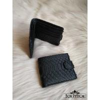 Портмоне на кнопке из кожи питона (black semi glossy)
