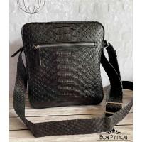 Мужская сумка из кожи питона Sanford (черная Dragon)