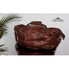 Дорожная (спортивная) сумка из кожи питона Leonardo (brown)